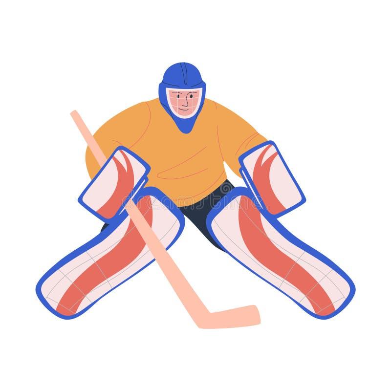 Игрок хоккея на льде взрослый мужской как голкипер бесплатная иллюстрация