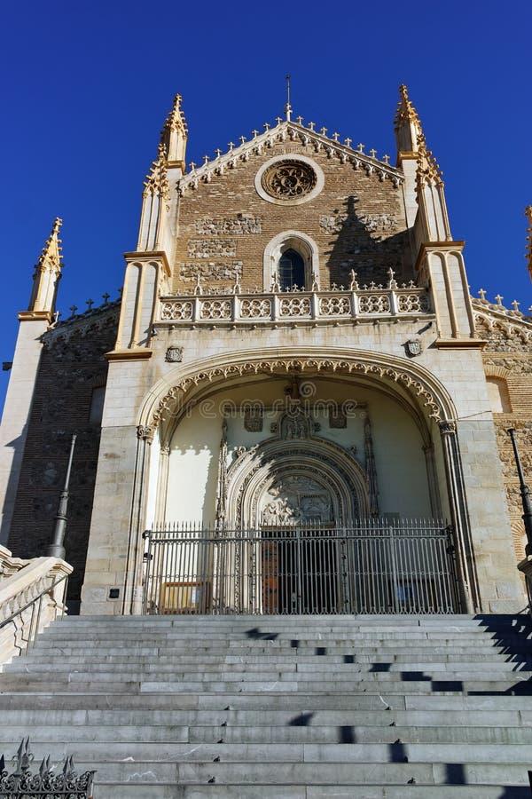 Изумляя взгляд церков Сан Jeronimo el Rea в городе Мадрида стоковое фото