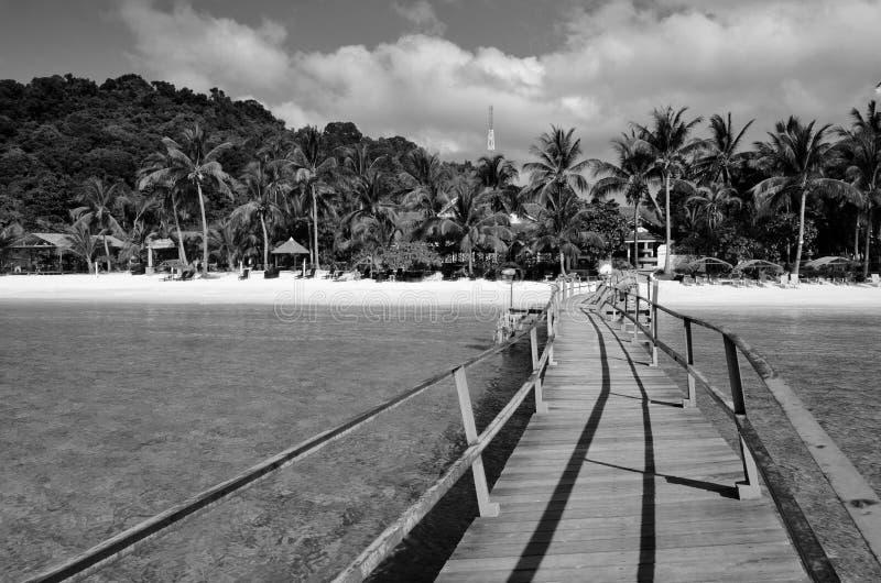 Изумляя остров Lang Tengah изящного искусства черно-белый,  Terengganu Малайзия стоковое фото