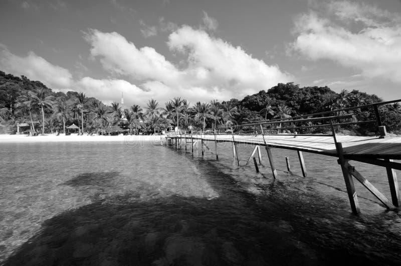 Изумляя остров Lang Tengah изящного искусства черно-белый,  Terengganu Малайзия стоковое изображение rf
