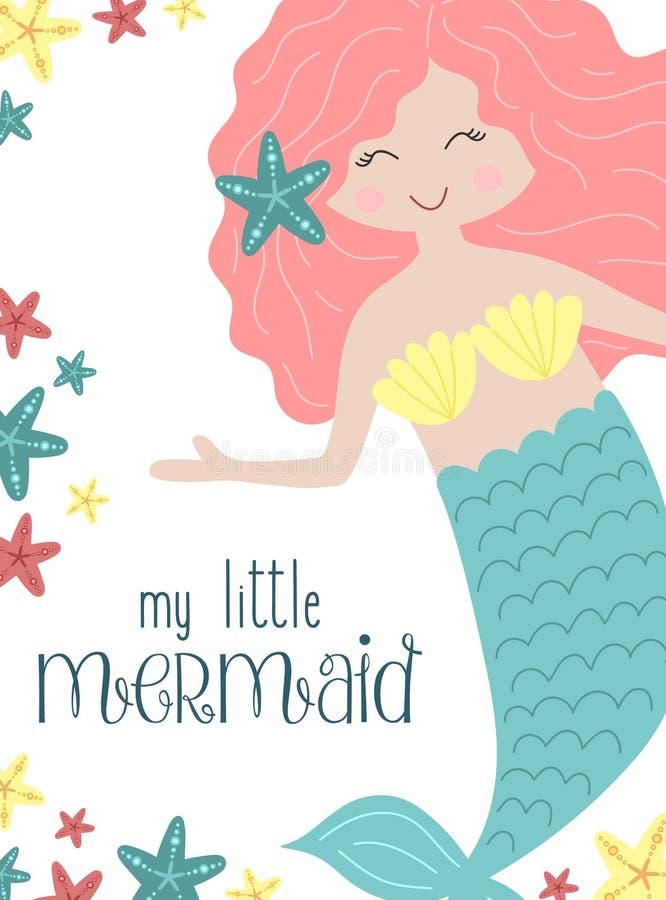 Изображение вектора милой маленькой русалки с розовыми волосами с морскими звёздами под водой Иллюстрация для девушки, день рожде иллюстрация штока