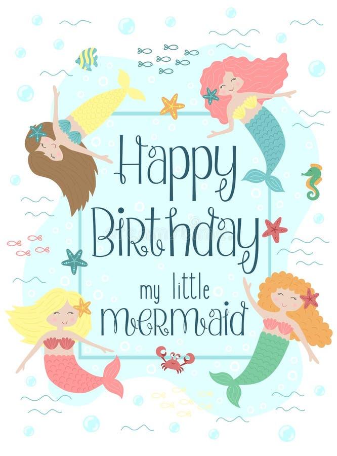 Изображение вектора смешных маленьких русалок и тварей моря Морская нарисованная вручную иллюстрация для девушки, день рождения,  иллюстрация штока