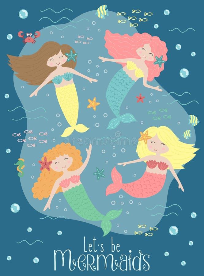 Изображение вектора смешных русалок и тварей моря под водой на темной предпосылке Морская нарисованная вручную иллюстрация для де иллюстрация штока