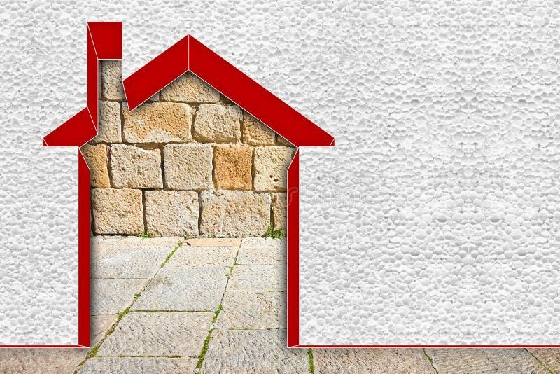 Изображение концепции выхода по энергии зданий - 3D представить домой термально изолированный со стенами полистироля стоковое изображение