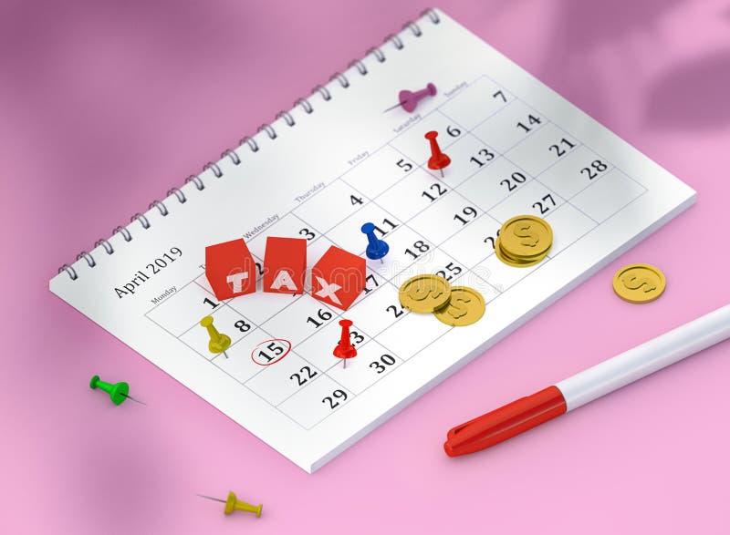 Изображение концепции календаря 15-ое апреля со штырями и золотыми монетами и кубов со словом НАЛОГОМ бесплатная иллюстрация
