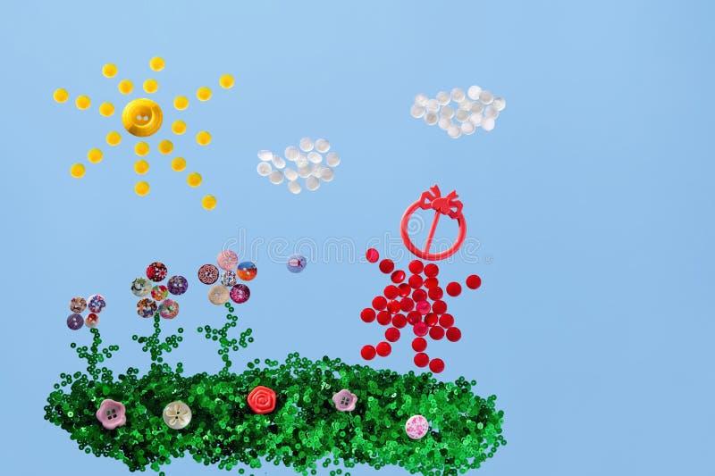 Изображение детей сделано с помощью кнопкам бесплатная иллюстрация