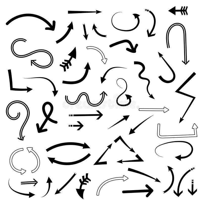 изображение doodle конструкции предпосылки стрелок безшовное Установите знаков мультфильма руки вычерченных иллюстрация штока