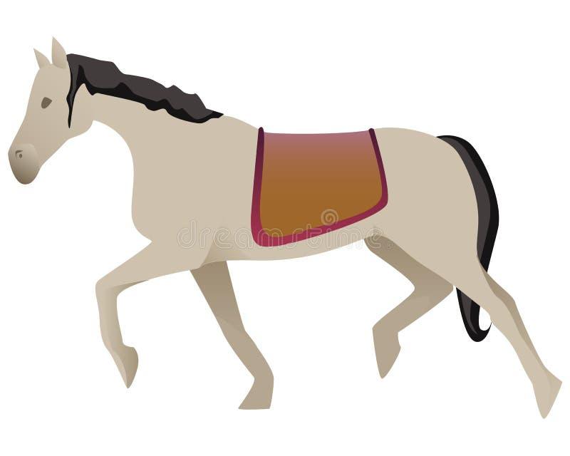 Изолированная красивая белая лошадь carrousel с черными гривами и сказом стоковые фото