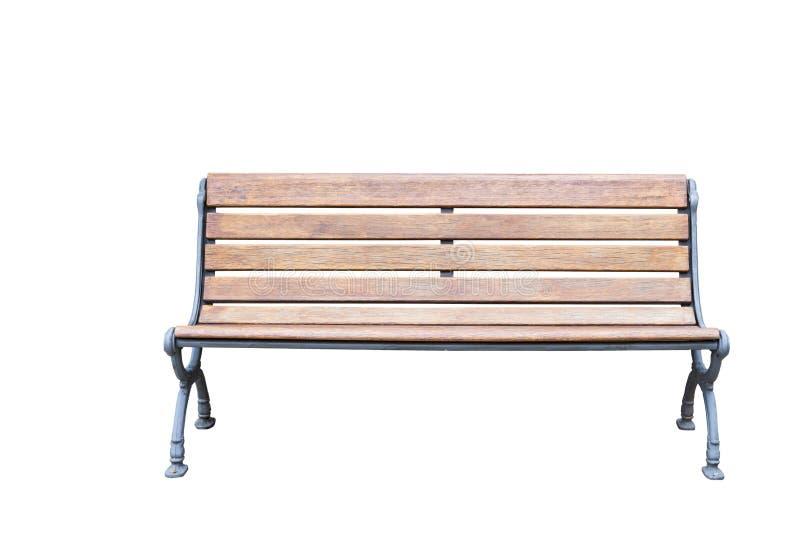 Изолированные винтажные металл и деревянная скамья на белизне стоковые фото
