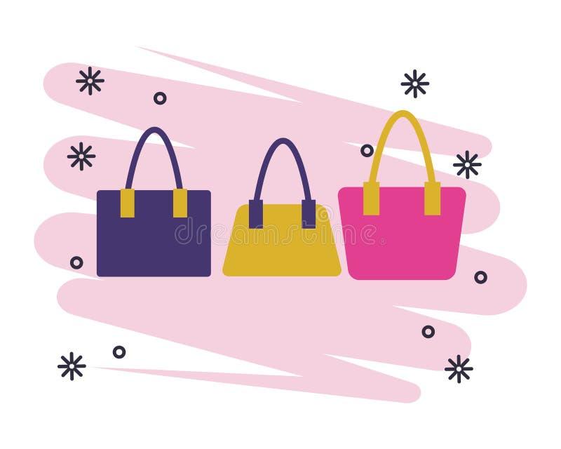 Изолированные сумки женщин моды иллюстрация вектора