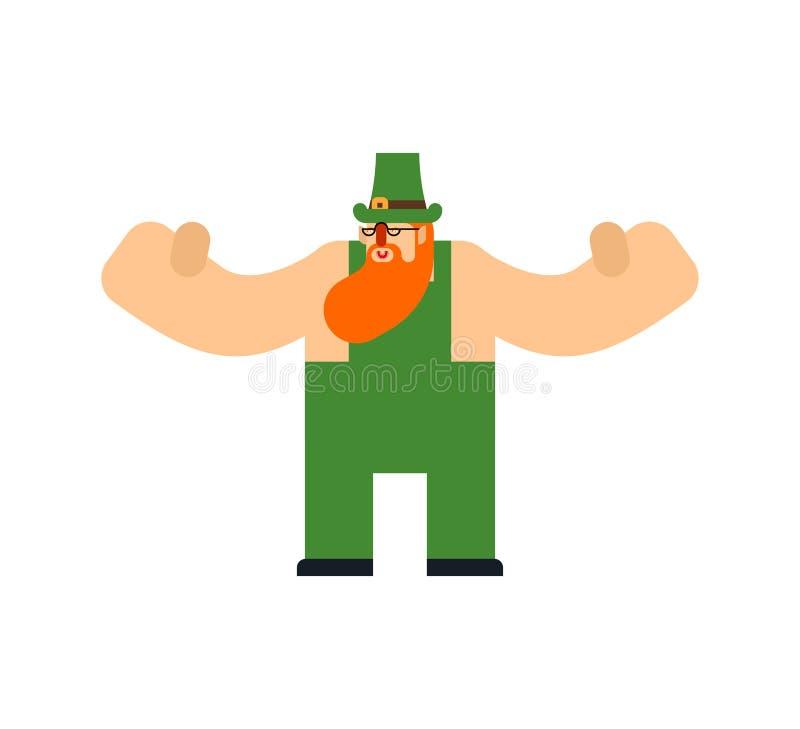 Изолированный лепрекон Характер дня St Patricks Ирландский праздник Карлик в зеленой шляпе иллюстрация штока
