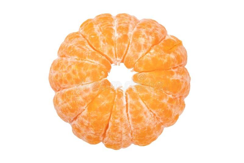 изолированный мандарин Конец-вверх, который слезли свежих зрелых tangerine или Клементина апельсина мандарина изолированных на бе стоковая фотография rf