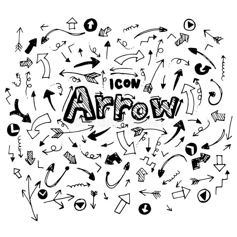 икона вычерченная рука doodle стрелки тематический Иллюстрация вектора плоская На белой предпосылке бесплатная иллюстрация