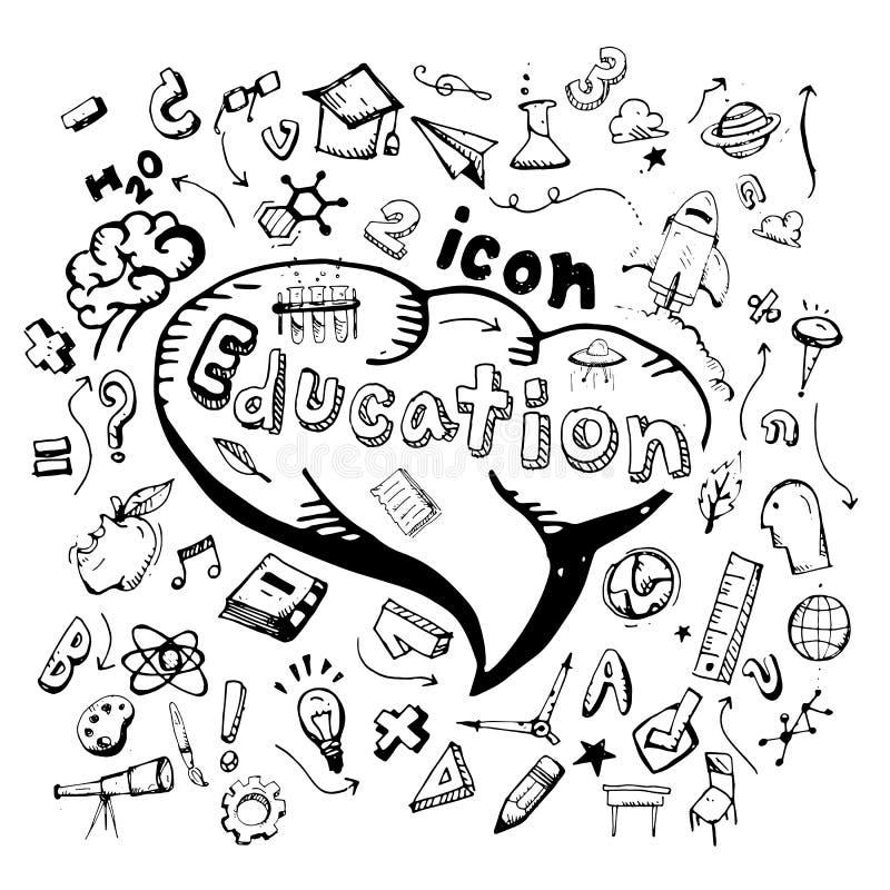 икона вычерченная рука doodle образования тематический Иллюстрация вектора плоская На белой предпосылке иллюстрация вектора
