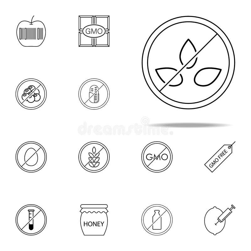 икона 100 естественная Набор значков GMO всеобщий для сети и черни иллюстрация штока