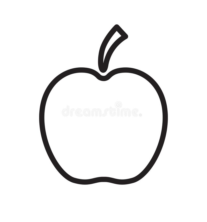 Outline apple black isolated icon vector illustration isolated on white. Eps 10 royalty free illustration