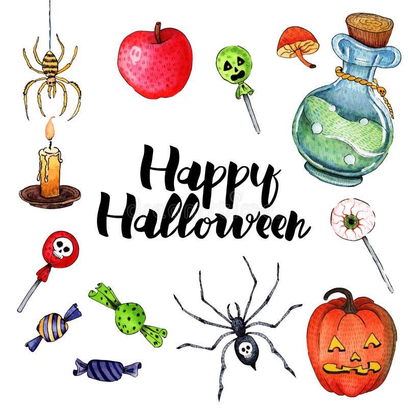 Иллюстрация акварели вектора на счастливый хеллоуин 2 бесплатная иллюстрация