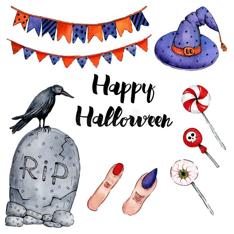 Иллюстрация акварели вектора на счастливый хеллоуин 3 иллюстрация штока