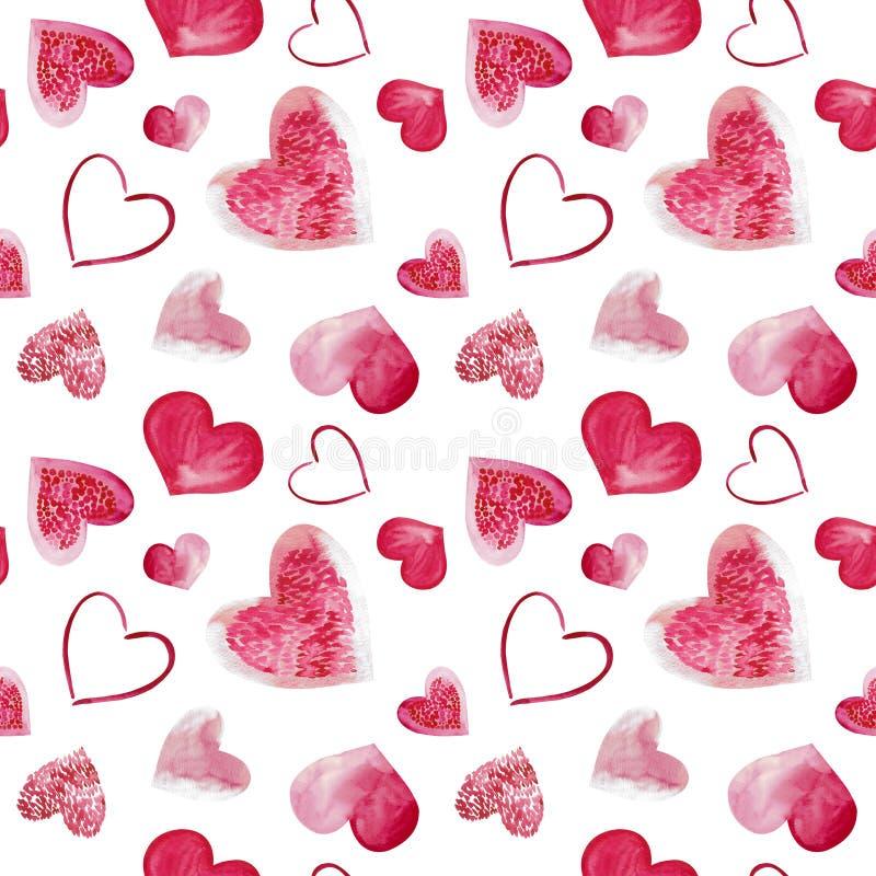 Иллюстрация акварели розовой предпосылки сердец любов Безшовная картина изолированная на белой предпосылке стоковое фото rf