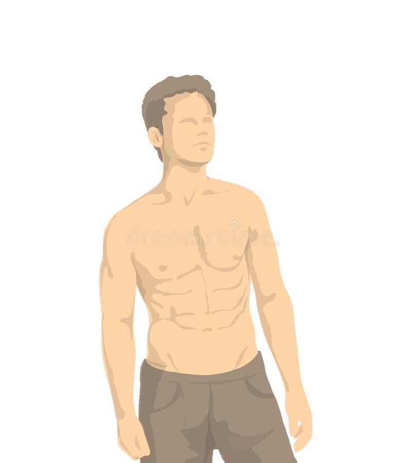 Иллюстрация без рубашки атлетического человека с мышцами и человеческими пропорциями иллюстрация штока