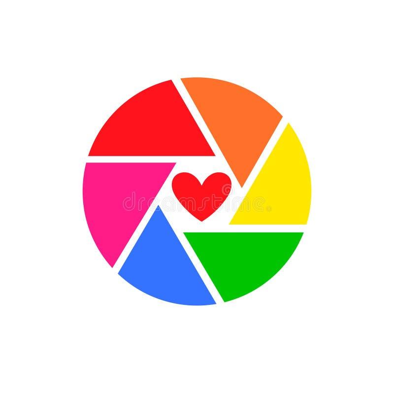 Иллюстрация вектора затвора камеры радуги, изолированная на белой предпосылке Логотип шторки сердца или любовь камеры значка иллюстрация штока