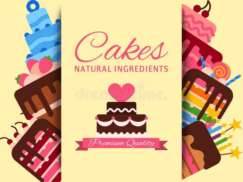 Иллюстрация вектора знамени магазина торта Ингредиенты тортов естественные наградное качество Шоколад и fruity десерты для торта иллюстрация штока