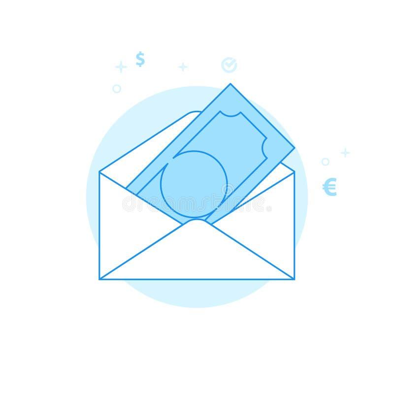 Иллюстрация вектора конверта денег плоская, значок Светлый - голубой Monochrome дизайн Editable ход стоковая фотография