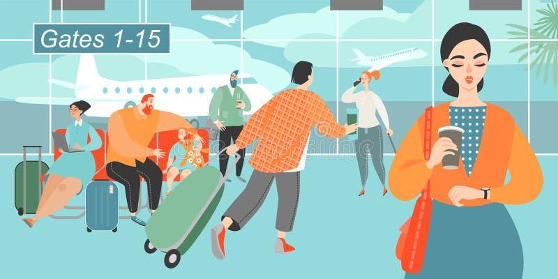 Иллюстрация вектора людей спеша к самолету в аэропорте бесплатная иллюстрация