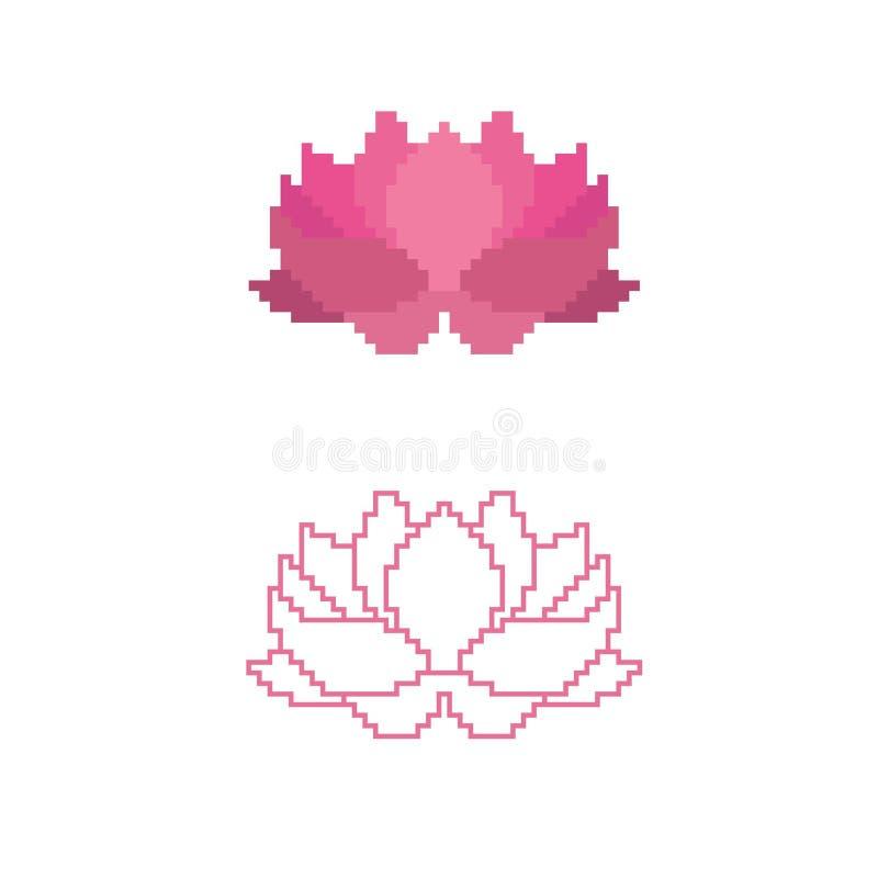 Иллюстрация вектора лотоса в стиле пиксела иллюстрация штока