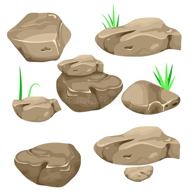 Иллюстрация вектора набора отделенных валунов, камней и камней мультфильма различных форм иллюстрация штока