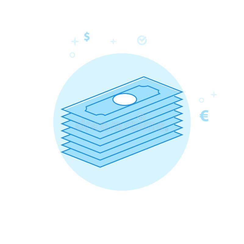 Иллюстрация вектора пачки денег плоская, значок Светлый - голубой Monochrome дизайн Editable ход стоковое изображение