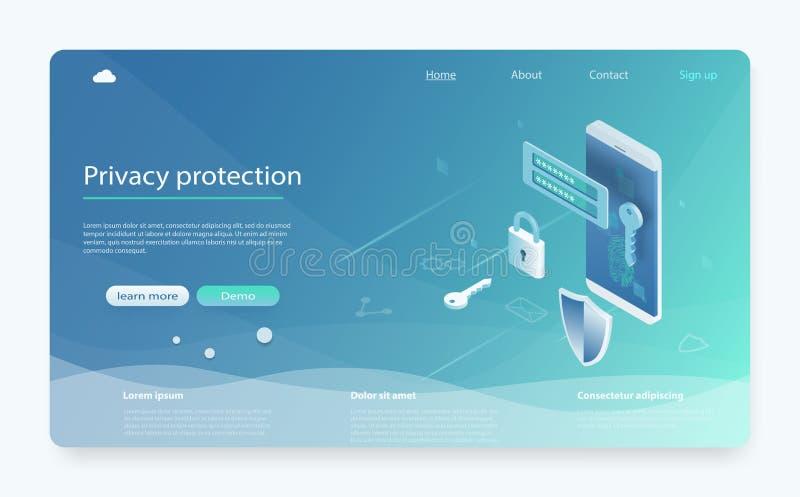 Иллюстрация вектора передвижной безопасности данных равновеликая Знамя с защитить данные и конфиденциальность Мобильная безопасно бесплатная иллюстрация