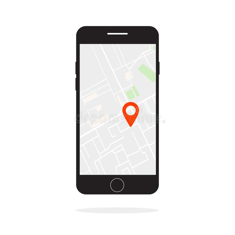 Иллюстрация вектора поиска положения на экране телефона бесплатная иллюстрация