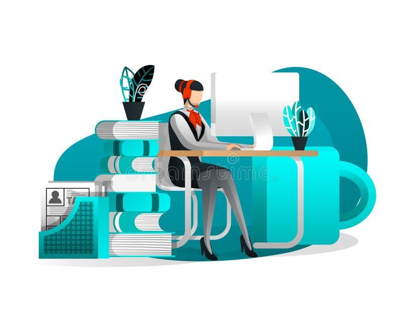 Иллюстрация вектора для интернет-страницы, знамени, представления, социальных средств массовой информации, UI Деятельность службы бесплатная иллюстрация