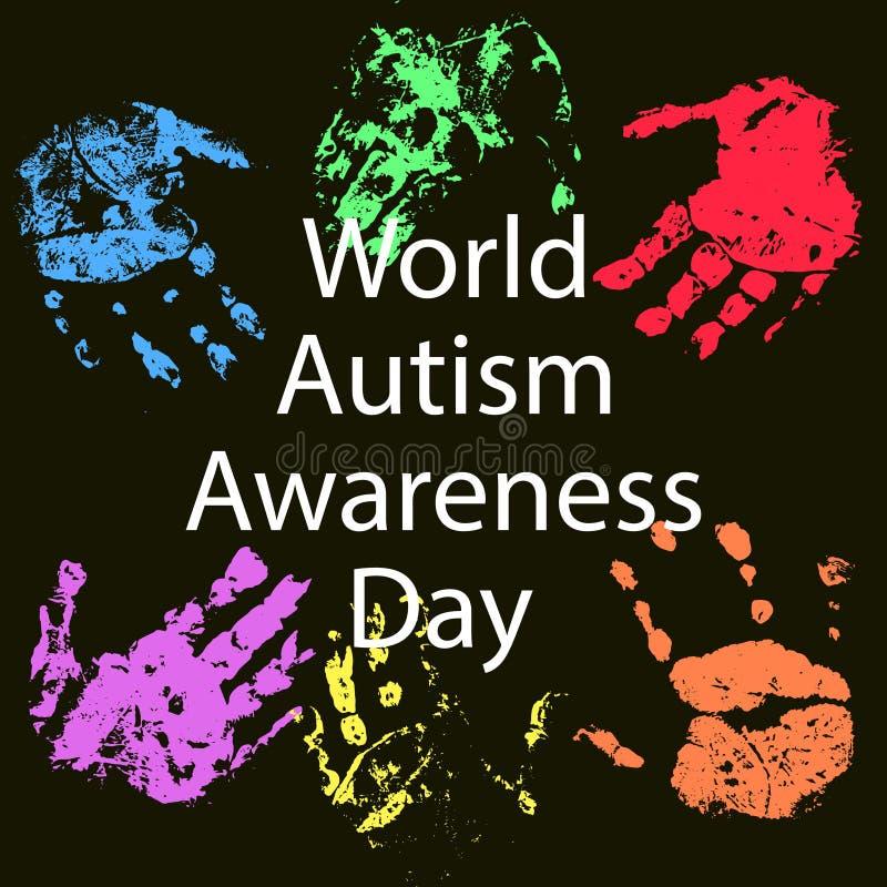 Иллюстрация вектора дня осведомленности аутизма мира стоковые изображения