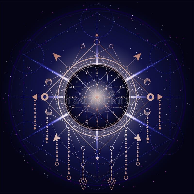 Иллюстрация вектора священного или мистического символа на абстрактной предпосылке Геометрический знак нарисованный в линиях Золо бесплатная иллюстрация