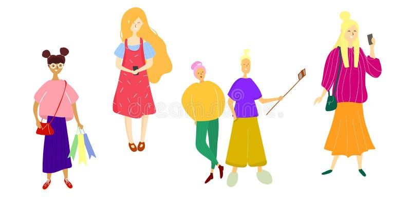 Иллюстрация вектора счастливых людей и женщин в плоском стиле иллюстрация штока