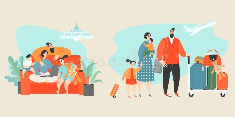 Иллюстрация вектора схематическая со счастливыми билетами приобретения семьи онлайн бесплатная иллюстрация