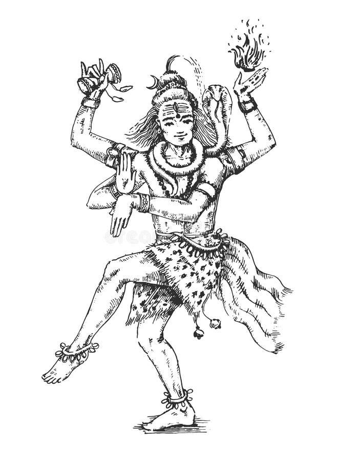 Иллюстрация вектора танцуя лорда Shiva, индийского бога индусского для Shivratri в форме Nataraja иллюстрация штока