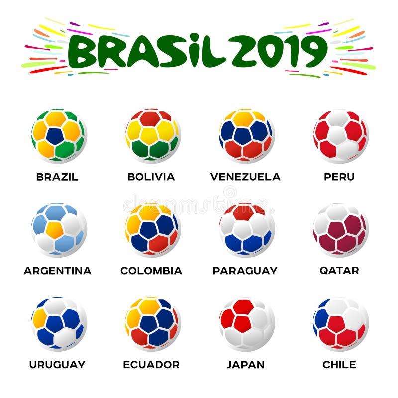 Иллюстрация вектора футбольного мяча в цветах иллюстрация штока