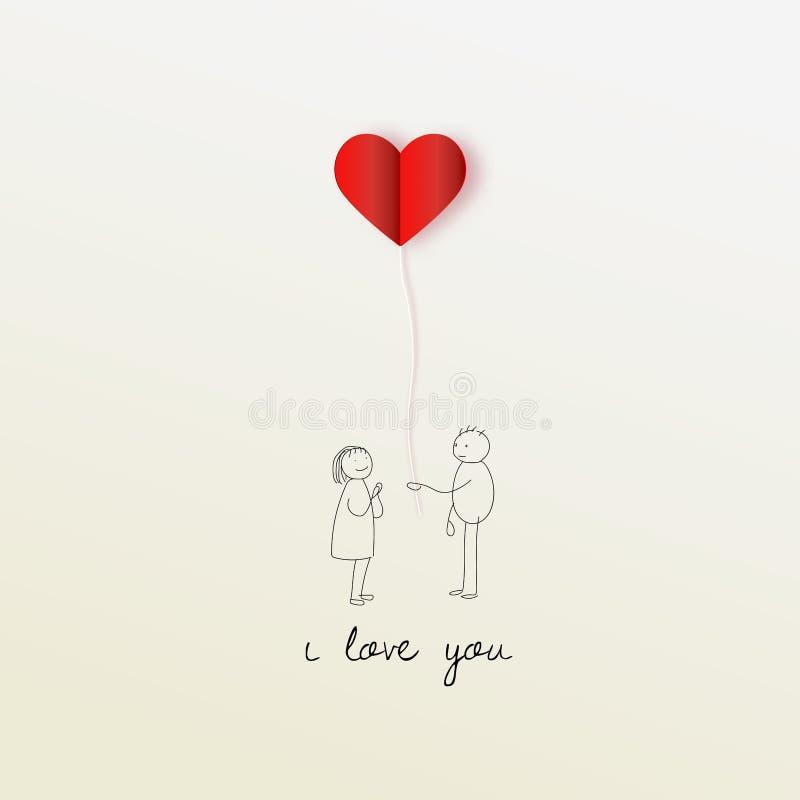 Иллюстрация вектора человека давая красный воздушный шар сердца девушке на белой предпосылке Полюбите концепцию, предпосылку дня  иллюстрация штока