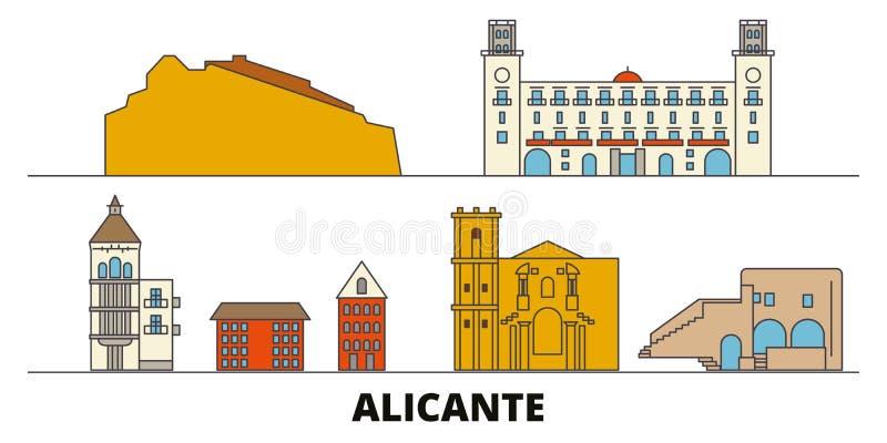 Иллюстрация вектора ориентиров Испании, Аликанте плоская Линия город с известными видимостями перемещения, горизонт Испании, Алик иллюстрация вектора