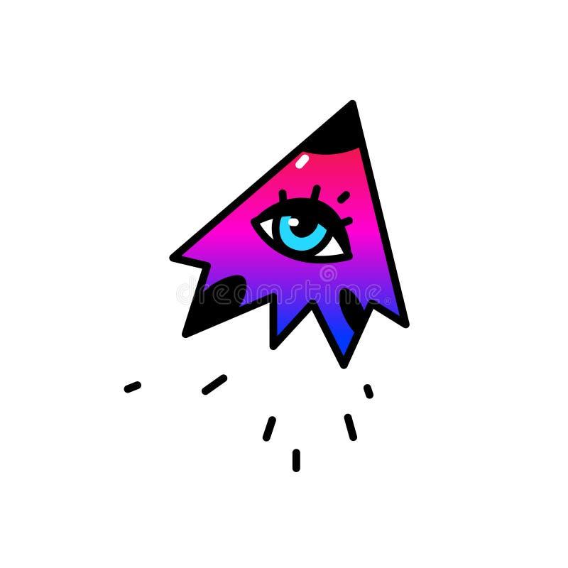 Иллюстрация глаза летая вектор Стиль шаржа плоский Голубой глаз летает в небо Символ всевидящего ока Логотип, изображение бесплатная иллюстрация