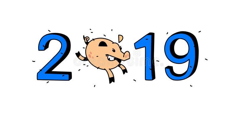 Иллюстрация года свиньи 2019 также вектор иллюстрации притяжки corel Изображение изолировано на белой предпосылке Идущая свинья с бесплатная иллюстрация