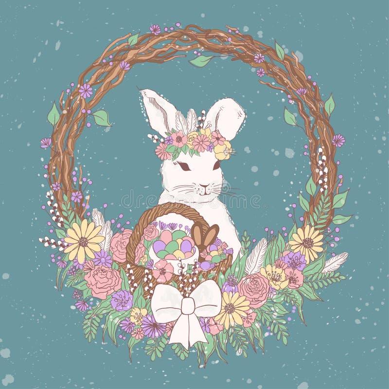 Иллюстрация зайчика пасхи вектора пастельная флористическая с цветками, пасхальными яйцами, корзиной, венком, конфетами шоколада  иллюстрация штока