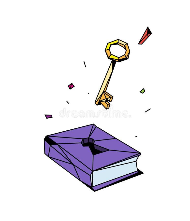 Иллюстрация закрытой книги и ключа вектор Плоский стиль Иллюстрация для плаката, печати и вебсайта Открытие нового бесплатная иллюстрация