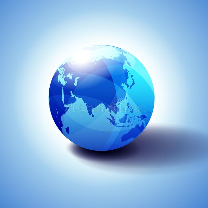 Иллюстрация значка 3D глобуса мира Китая, Азии и Японии глобальная, лоснистая, сияющая сфера с глобальной картой в тонкий давать  иллюстрация вектора