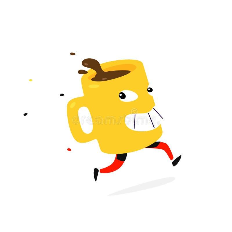 Иллюстрация идущих желтых чашки кофе или чая вектор Стиль шаржа плоский Напиток чашки характера горячий Доставка горячего шоколад иллюстрация штока