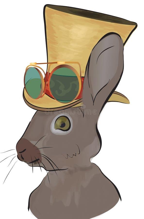 Иллюстрация кролика в стиле Steampunk Зайцы со шляпой иллюстрация штока