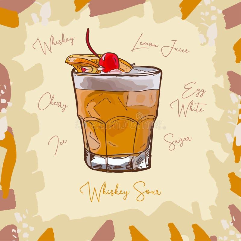 Иллюстрация коктейля вискиа кислая современная классическая Вектор спиртной руки напитка бара вычерченный Искусство шипучки иллюстрация вектора